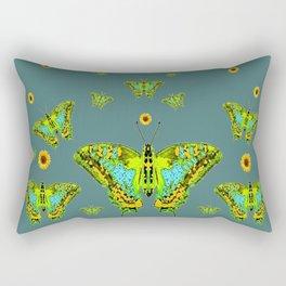 BLUE-GREEN-YELLOW PATTERNED MOTHS YELLOW SUNFLOWERS Rectangular Pillow