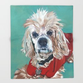 Ted the Cocker Spaniel Dog Art Throw Blanket