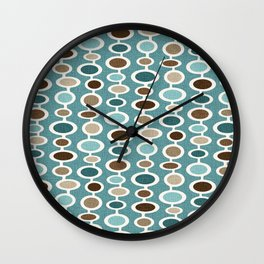 Mid Century Mushroom Clouds - Blue and Brown Earth Tones Wall Clock