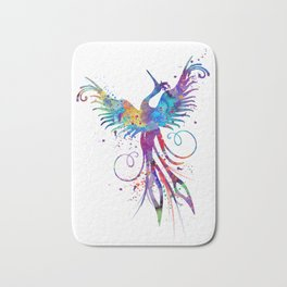 Phoenix Watercolor Print Nursery Art Gift for Her Bird Art Bath Mat