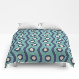 Mid Century Modern Rising Bubbles Pattern Turquoise and Blue Comforters