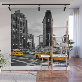 NYC Yellow Cabs Flat Iron Building Wall Mural