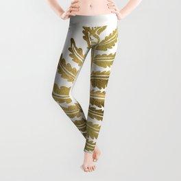Golden Fern Leaf Leggings