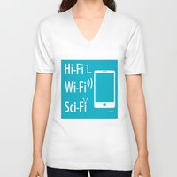 sci fi V-neck T-shirts featuring Hi Fi Wi Fi Sci Fi by Seedoiben
