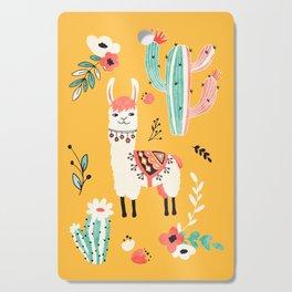 White Llama with flowers Cutting Board