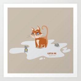 Ginger Cat and Mice Catch me If You Can Art Print