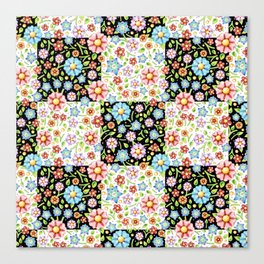 Millefiori Floral Patchwork Canvas Print