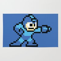 mega man Area & Throw Rugs featuring Pixelated Mega Man by Katadd