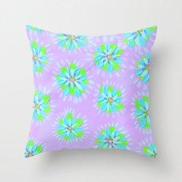 Dayglow Aqua Petal Rose Throw Pillow