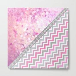 Pink gray chevron watercolor paint brushstrokes Metal Print