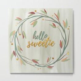 Hello Sweetie, Gold Fall Wreath Metal Print