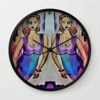 gemini Wall Clocks featuring Gemini by Deb MacNeil