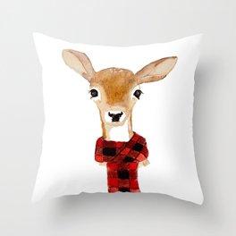 Fawn with buffalo check scarf Throw Pillow
