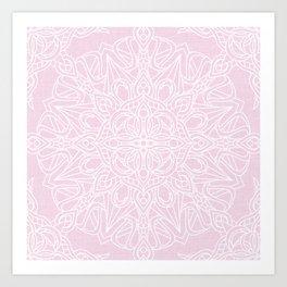 White Mandala on Pastel Pink Linen Textured Background Art Print