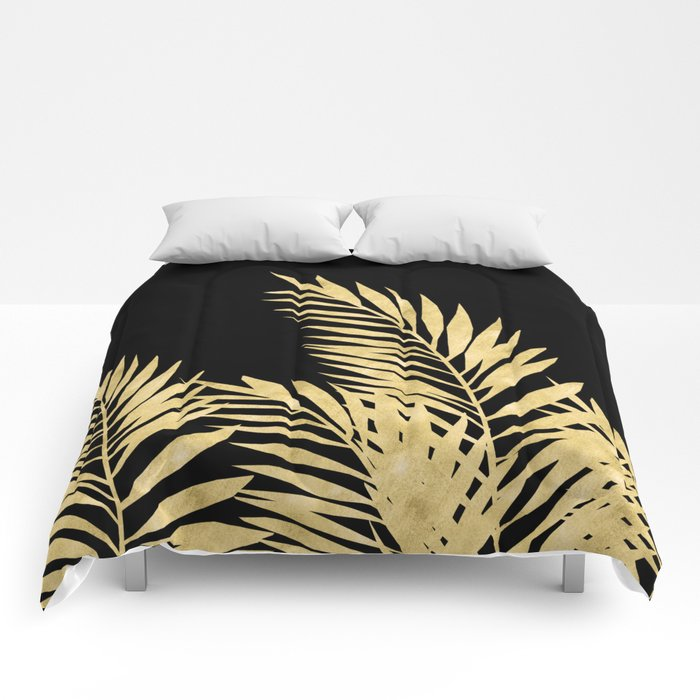 Palm Leaves Golden On Black Comforters