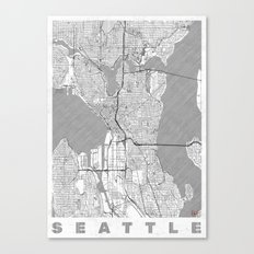 Seattle Map Line Canvas Print