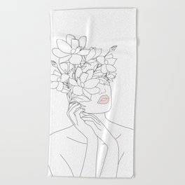 Minimal Line Art Woman with Magnolia Beach Towel