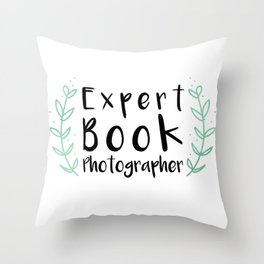 Expert Book Photographer Throw Pillow