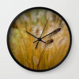 Dew on Ornamental Grass, No. 4 Wall Clock