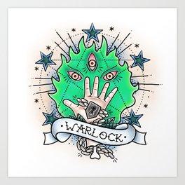 Warlock - Vintage D&D Tattoo Art Print