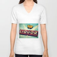 novelty V-neck T-shirts featuring A Great Day Indeed: Check Cashing & Liquor! by Honey Malek