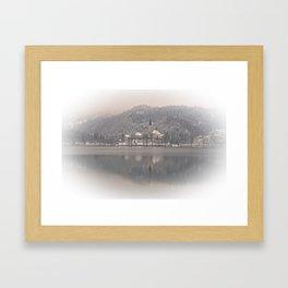 Wintry Bled Island Framed Art Print
