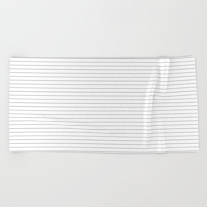 White Black Lines Minimalist Beach Towel