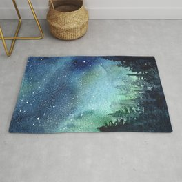 Galaxy Watercolor Aurora Borealis Painting Rug