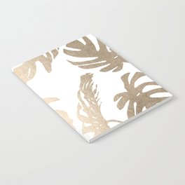 Simply Tropical Palm Leaves in White Gold Sands Notebook