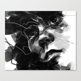 Portrait of Man Black and White Canvas Print