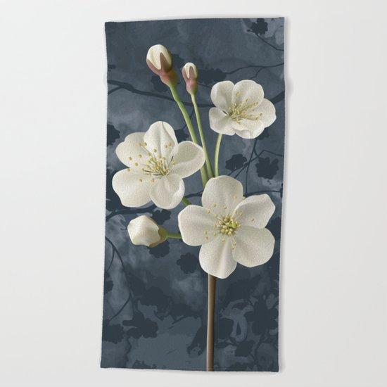 It blooms my cherry tree Beach Towel
