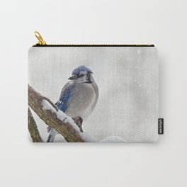 Puffed Feathers Blue Jay Carry-All Pouch