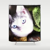 kermit Shower Curtains featuring Little Blue Eyes by MaryBagwellJohnson