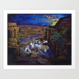 painted horses running through canyon at sunset Art Print