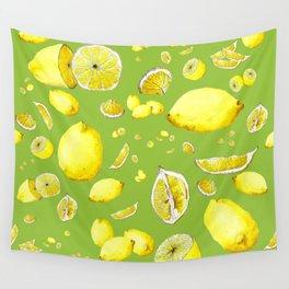 Lemon Lust on Green Wall Tapestry