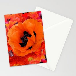 DECORATIVE ORANGE POPPY FLOWERS COMPOSITION Stationery Cards