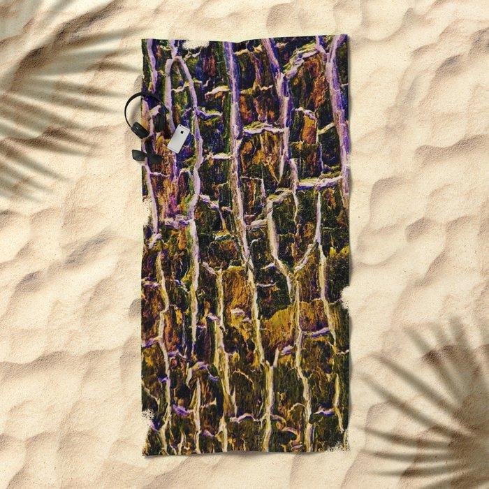 Jewel Toned Topaz Tree Bark Beach Towel