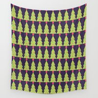 christmas tree Wall Tapestries featuring CHRISTMAS TREE by aztosaha