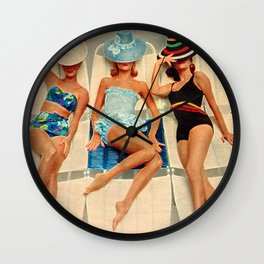 Retro Sunbathers Wall Clock