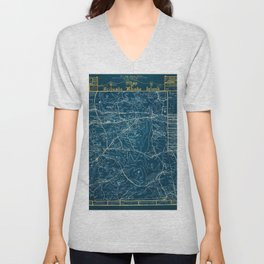 Vintage Lost Villages of Scituate, Rhode Island Map before flooding of Scituate Reservoir Unisex V-Neck