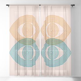 Abstraction_EYES_Minimalism_POP_ART Sheer Curtain
