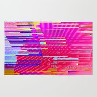 glitch Area & Throw Rugs featuring sunset glitch by Norma Lindsay