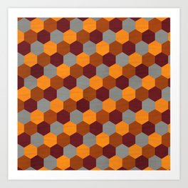 Browns Hues Geometric Marquetry Pattern Art Print