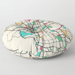 Colorful City Maps: Osaka, Japan Floor Pillow