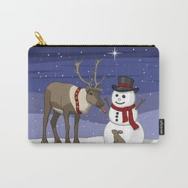 Santa's Reindeer Giving Snowman's Carrot Nose To Bunny Carry-All Pouch