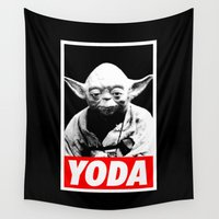 obey Wall Tapestries featuring Obey Yoda (yoda text version) - Star Wars by Yiannis