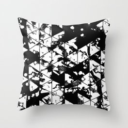 Splatter Triangles - Black and white, abstract, paint splat, triangular pattern Throw Pillow