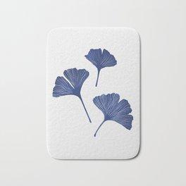 Blue Ginkgo Biloba Pattern Bath Mat