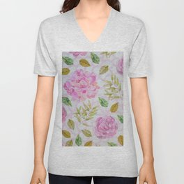 Hand painted lilac pink blush green watercolor floral Unisex V-Neck