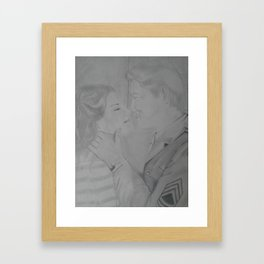 So long my love, Vintage pencil sketch. Framed Art Print